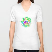 deathly hallows V-neck T-shirts featuring The Deathly Hallows by Christina