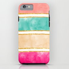 Modern Stripes Pink Red Watercolor Gold Glitter Tough Case iPhone 6
