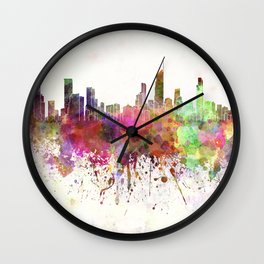 Gold Coast skyline in watercolor background Wall Clock