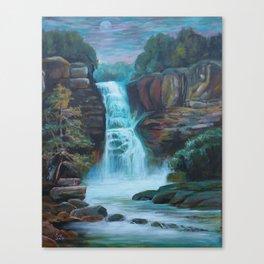 Moonlit Waterfall Canvas Print
