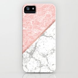 Geometrical pastel gray coral rose gold marble iPhone Case