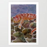 lizard Art Prints featuring lizard by rysunki-malunki