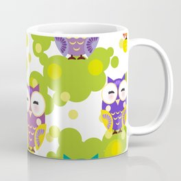 bright colorful owls and green leaves on white background Coffee Mug