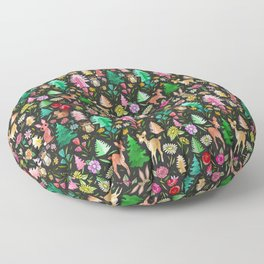 Forest Friends in the Kitsch Woods Floor Pillow