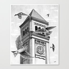 Clock Tower with Swallows Canvas Print