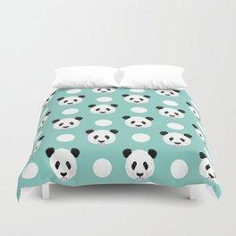 Panda polka dots pattern print minimal trendy kids design pillow cell phone cute panda cub character Duvet Cover