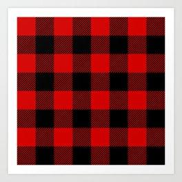 Red Lumberjack Pattern Art Print