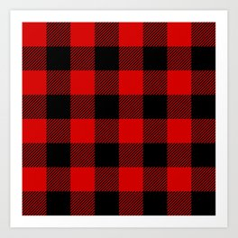 Red Lumberjack Pattern Art Print
