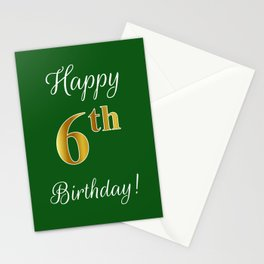 """Elegant """"Happy 6th Birthday!"""" With Faux/Imitation Gold-Inspired Color Pattern Number (on Green) Stationery Cards"""