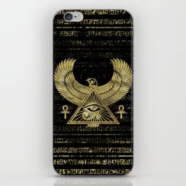 Egyptian Eye of Horus - Wadjet Gold and Black iPhone Skin