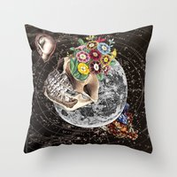 novelty Throw Pillows featuring Universe Striving for Novelty by Eugenia Loli