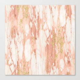 Rose Gold Marble - Rose Gold Yellow Gold Shimmery Metallic Marble Canvas Print