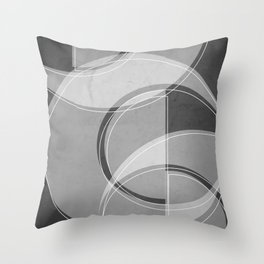 Where the Circles and Semi-Circles Meet in Charcoal Gray Throw Pillow
