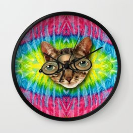 TIE DYE CAT Wall Clock