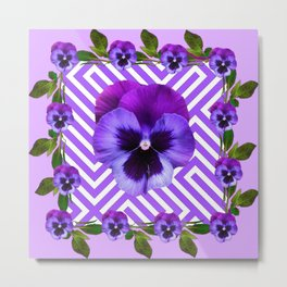 LILAC PURPLE ON PURPLE PANSIES  FLOWERS PATTERNS Metal Print