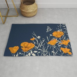 Poppies and Butterfly Art, Navy Blue and Yellow Floral Prints Rug
