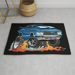 Classic Seventies American Muscle Car Hot Rod Cartoon Illustration Rug