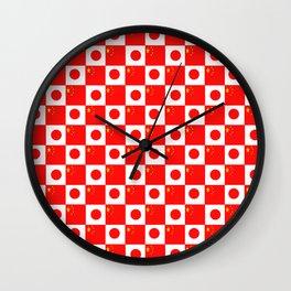 Mix of flag: China and Japan Wall Clock