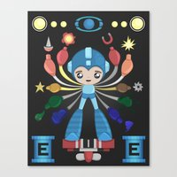 megaman Canvas Prints featuring MegaMan Shrine by MattBlanksArt