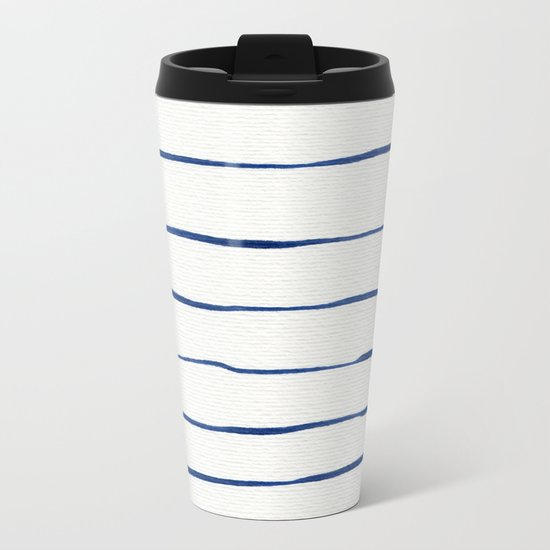 Blue Stripes Metal Travel Mug
