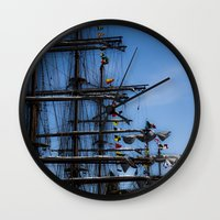 ships Wall Clocks featuring Tall ships by Stu Naranch