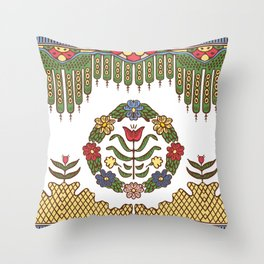 Folk Slavic embroidery colorfull Throw Pillow