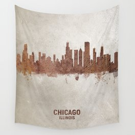 Chicago Illinois Rust Skyline Wall Tapestry