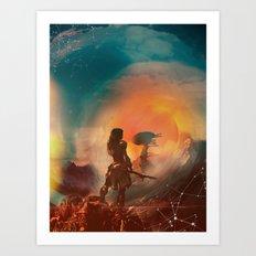 Horizon zero dawn poster game print fan artwork game room wall decor aloy art print game girl Art Print
