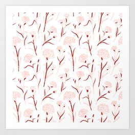 Autumn Carnations White&Red&Pink Art Print