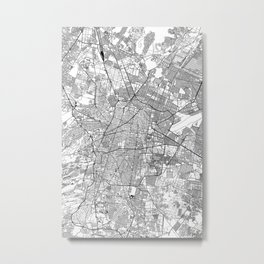 Mexico City White Map Metal Print