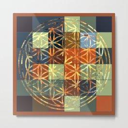 Flower Of Life Modern Squares Mosaic Metal Print