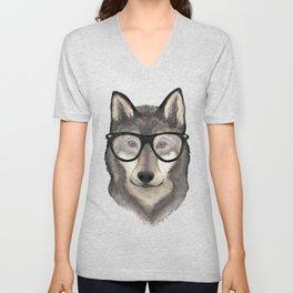 Hipster Wolf Unisex V-Neck