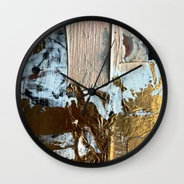 Compelling: a minimal, abstract mixed-media piece in gold, pink, black and white by Alyssa Hamilton Wall Clock