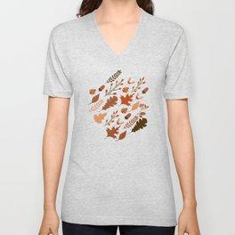 Autumn Leaves and Ladybugs Pattern Dark Unisex V-Neck