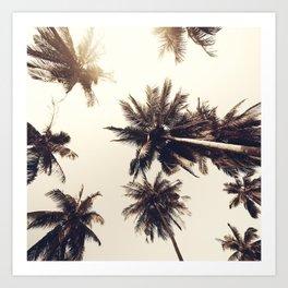 Pale Gold Palm Trees Art Print