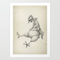 rooster Art Prints featuring Rooster by Aleks Klepnev
