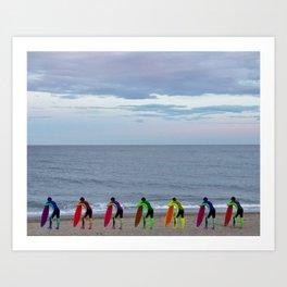 Patient Surfer - Neon - Waiting In Line Art Print