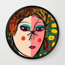 Green Portrait French Girl Art Wall Clock