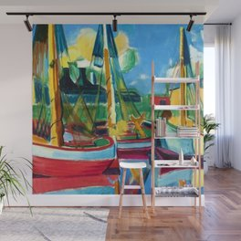 Fishing Boats in the Afternoon Sun by Hermann Max Pechstein Wall Mural