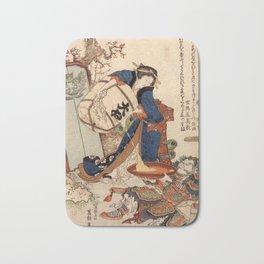 The Strong Oi Pouring Sake by Katsushika Hokusai Bath Mat