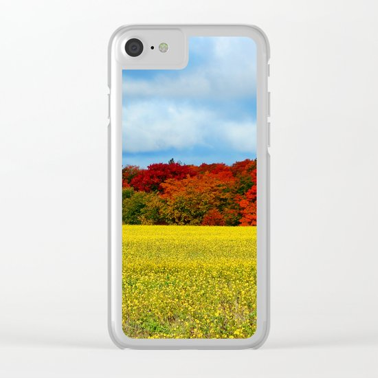Blue Red Yellow Green and White Clear iPhone Case