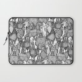 just chickens black white Laptop Sleeve