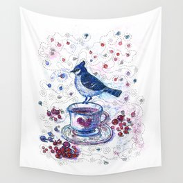 Winter Tea (Ble Jay) Wall Tapestry