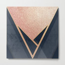 Rose Gold and Navy Metal Print