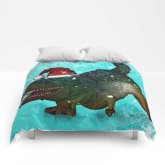 T-rex, merry christmas Comforters