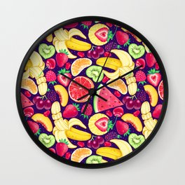 Fruit Cocktail on Blue Wall Clock