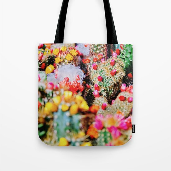 RAINBOW CACTUS CLUSTER PATTERN Tote Bag