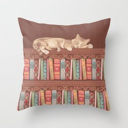 Cat in the library Throw Pillow