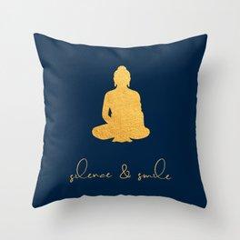 Gold Buddha - Silence & Smile Throw Pillow