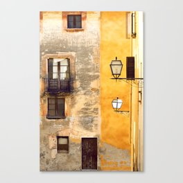 Yellow and Old Wall Canvas Print
